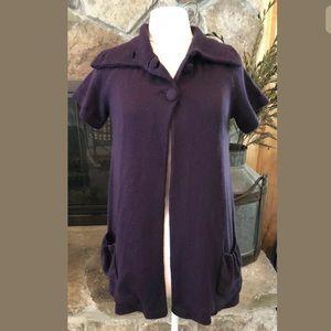 Willi Smith Sweater Cardigan Short Sleeve Plum